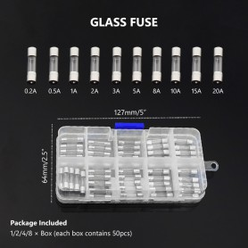 NedRo - 50 pcs 0.2A to 20A glass fuse set - Fuses - AL1035