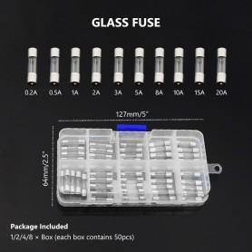 NedRo - Set van 50 stuks 0.2A tot 20A glas zekeringen - Zekeringen - AL1035 www.NedRo.nl