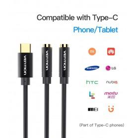 Vention, USB Type-C Male naar 3,5 mm dubbele Female splitter-audiokabel, Audio kabels, V076, EtronixCenter.com