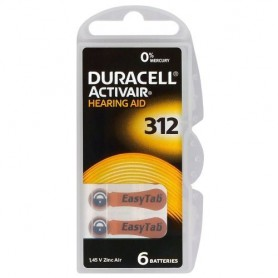 Duracell ActivAir 312 MF (Hg 0%) Acoustic Hearing Aid Batteries