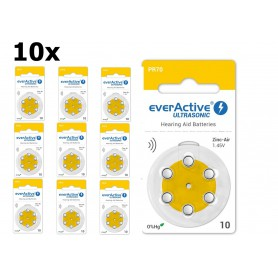 EverActive - everActive ULTRASONIC 10 1,45V Baterie pentru aparate auditive - fără mercur - Baterii plate - BL305-CB www.NedR...