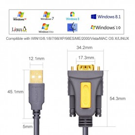 UGREEN, USB 2.0 naar DB9 RS-232-adapterkabel, RS 232 RS232 adapters, UG069-CB, EtronixCenter.com