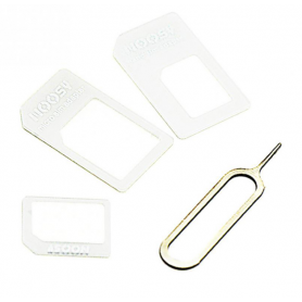 NedRo - 4-in-1 SIM Micro-SIM Nano-SIM-adapter incl. Pin Sleutel - SIM adapters - AL226-CB www.NedRo.nl