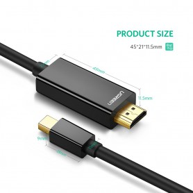 UGREEN - Mini Dislayport DP Male to HDMI Male cable 4K*2K - Displayport and DVI cables - UG410 www.NedRo.us