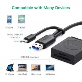 UGREEN - USB 3.0 SD/TF Card Reader with OTG - SD and USB Memory - UG411 www.NedRo.us