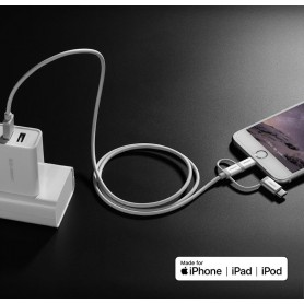 UGREEN - Ugreen 3-in-1 Lightning, Micro USB, Type-C kabel - iPhone datakabels - UG418-CB www.NedRo.nl