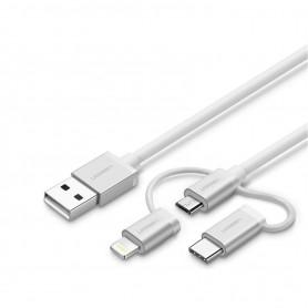 UGREEN - Ugreen 3 în 1 Micro USB + Lightning + Cablu de tip C - iPhone cabluri de date  - UG418-CB www.NedRo.ro