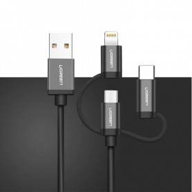 UGREEN - Ugreen 3 in 1 Micro USB + Lightning + Type C Cable - iPhone data cables - UG418-CB www.NedRo.us