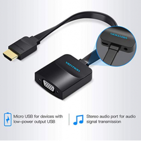 Vention - HDMI to VGA converter with 3.5mm audio and USB power supply - HDMI adapters - V102-CB