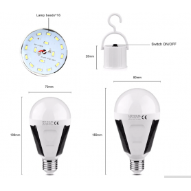 NedRo, E27 Fitting for portable LED Solar Lights, Light Fittings, AL1024-CB, EtronixCenter.com