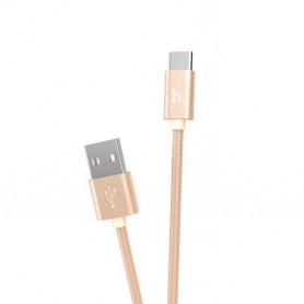 HOCO, HOCO Knitted X2 cablu de date USB la Type-C, Cabluri USB la USB C, H100171-CB, EtronixCenter.com