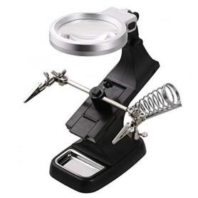 NedRo - Vergrootglas Loep 3x en 4.5x Zoom Soldeer Houder Met LED Lamp - Loepen en Microscopen - AL322-CB www.NedRo.nl