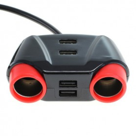 OTB - 10A Autolader / verdeler sigarettenaansteker 2x koppeling + 4 USB 1.2m - Aanstekerplugs - ON6277 www.NedRo.nl