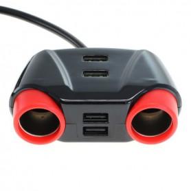 OTB - 10A HUB Priza Auto cu 4 porturi USB si 2 Prize Auto - Încărcător auto - ON6277 www.NedRo.ro