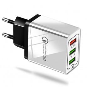 QC3.0 5V/9V/12V 2.1A 100-240V Triplet USB EU wandoplader