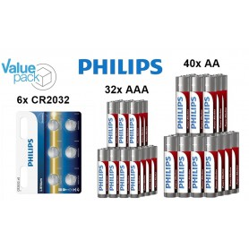PHILIPS - Philips Power Pack - Power Alkaline AA AAA CR2032 - AA formaat - BS349-CB www.NedRo.nl