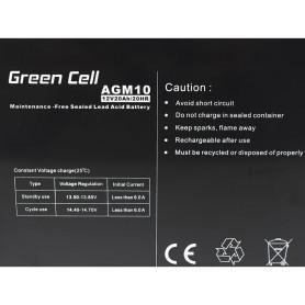 Green Cell, Green Cell 12V 20Ah (11mm) 20000mAh AGM Battery, Battery Lead-acid , GC040