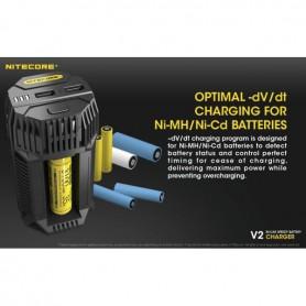 NITECORE - Nitecore V2 3A Li-ion IMR Ni-MH NiCd batterij autolader - Batterijladers - MF015 www.NedRo.nl