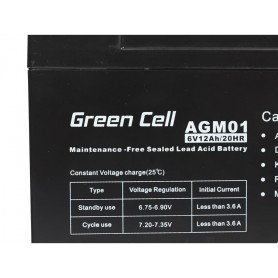 Green Cell, Green Cell 6V 12Ah (4.6mm) 12000mAh VRLA AGM accu, Loodaccu, GC049, EtronixCenter.com