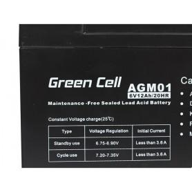 Green Cell - Green Cell 6V 12Ah (4.6mm) 12000mAh VRLA AGM Battery - Battery Lead-acid  - GC049