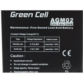 Green Cell - Green Cell 6V 4.5Ah (4.6mm) 4500mAh VRLA AGM Battery - Battery Lead-acid  - GC050