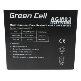 Green Cell - Green Cell 6V 14Ah (4.6mm) 14000mAh VRLA AGM accu - Loodaccu - GC051 www.NedRo.nl