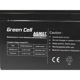 Green Cell, Green Cell 12V 12Ah (6.3mm) 12000mAh VRLA AGM Battery, Battery Lead-acid , GC052