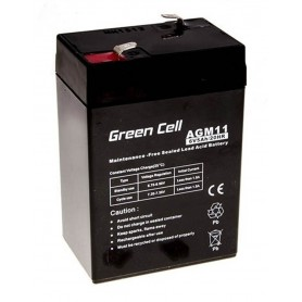 Green Cell - Green Cell 6V 5Ah (4.6mm) 5000mAh VRLA AGM Battery - Battery Lead-acid  - GC055