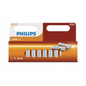 PHILIPS - 12-Pack - Philips Longlife Zinc AA/R6 alkalinebatterij - AA formaat - BS034-CB www.NedRo.nl