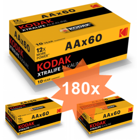 Kodak - 60-Pack Kodak XTRALIFE LR6 / AA / R6 / MN 1500 1.5V Alkaline batterij - AA formaat - BS412-CB www.NedRo.nl