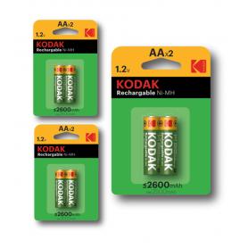 Kodak - Kodak AA / Micro / HR06 2600mAh 1.2V oplaadbare batterij - AA formaat - BS414-CB www.NedRo.nl