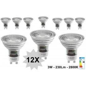 Calex - 3W Calex Warm Wit COB LED-lamp GU10 240V 230lm 2800K - 3 Pack - GU10 LED - CA0161-CB www.NedRo.nl