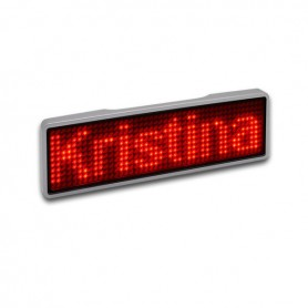 Sertronics - Sertronics LED name tag 9.3x3cm silver edge - LED gadgets - ON6295-CB www.NedRo.us