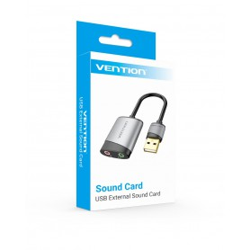 Vention - Vention External Sound Card via USB for Microphone and Audio OMTP-CTIA - Audio adapters - V109
