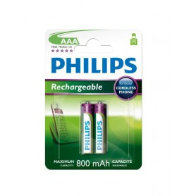 PHILIPS, Philips Rechargable Battery AAA HR03 800mAh, Size AAA, BS451-CB