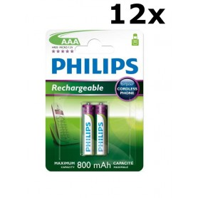 PHILIPS - Philips Rechargable Battery AAA HR03 800mAh - Size AAA - BS451-CB www.NedRo.us