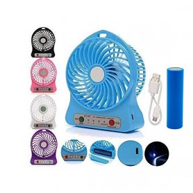 Portable rechargeable LED light fan with 18650 battery and charging cable