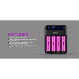 Efest - Efest Lush Q4 4-Bay 2A Quick Battery Charger for Li-ion IMR - Battery chargers - NK473