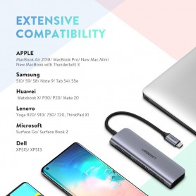 UGREEN - 6in1 USB-C PD C Type USB C to 4K HDMI USB-C USB 3.0 SD TF Card - USB adapters - UG-70411