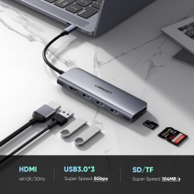UGREEN - 6in1 USB-C C Type USB C to 4K HDMI 2x USB 3.0 SD TF Card - USB adapters - UG-70410