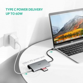 UGREEN - 8in1 USB-C PD C Type USB C to 4K HDMI USB-C PD RJ45 USB 3.0 SD TF Card - USB adapters - UG-50538
