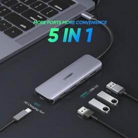UGREEN - 5in1 USB-C PD C Type USB C to USB-C PD 60W 4x USB 3.0 - USB adapters - UG-50312