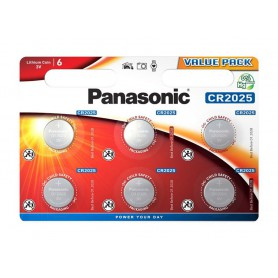 6-Pack Panasonic CR2025 3V 165mAh Lithium button cell battery