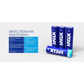 XTAR - Xtar 3500mAh 3.7V 18650 PCB PROTECTED battery - Size 18650 - BL352
