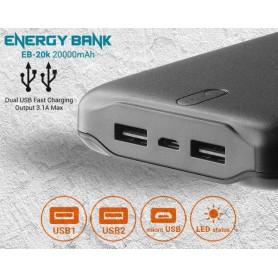 EverActive - 20.000mAh everActive 5V / 2.4A Powerbank - EnergyBank - PowerStation - Powerbanks - BL357