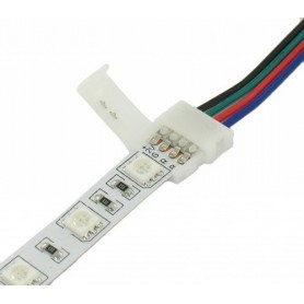Oem - 10mm 4 Pin RGB LED Click to Click 15cm Connector Cable Wire - LED connectors - LSCC06