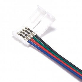 NedRo - 10mm 4 Pin RGB LED Click to Wire 15cm Connector Cable Wire - LED connectors - LSCC03