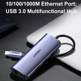 UGREEN - UGREEN USB-C to 3*USB 3.0 A HUB+ Gigabit Converter Hub - USB adapters - UG-60717