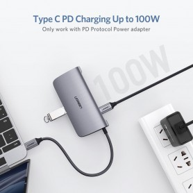 UGREEN - 6in1 USB-C PD C Type USB C to 4K HDMI USB-C PD RJ45 2x USB 3.0 - USB adapters - UG-50771