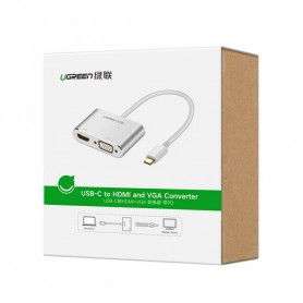 UGREEN - USB-C to HDMI and VGA Converter (Thunderbolt 3 Port Compatible) - USB adapters - UG-30843-CB